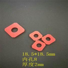 模切硅胶垫,红色方型胶垫,内孔8MM硅胶胶垫,厚度2MM硅胶胶垫