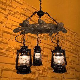 供應瑪斯歐美式鄉村復古三樹環樹脂材質煤油馬燈燈頭可調節高度餐廳吊燈MS-P9003