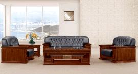 高端胡桃木色真皮沙發休閒定制沙發