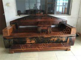船木家具罗汉床,船木龙骨扶手罗汉床,独板罗汉床