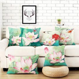 中式居家布艺荷花系列靠垫含芯可拆洗沙发办公腰枕 来图定制抱枕