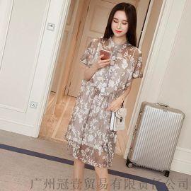 韩版甜美立领碎花雪纺中长款开衫防晒衫+吊带裙 两件套装