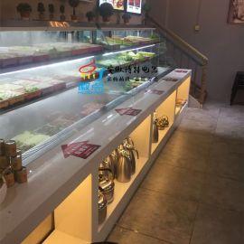 川西坝子冷柜,后补式菜品展示柜,明档火锅喷雾展示柜