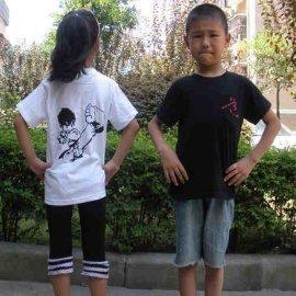 涤棉透气儿童跆拳道短袖T恤衫武术衣服训练服装夏男士女定做道服