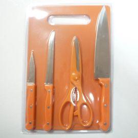 全彩 5件套双面吸塑  小三眼钉柄小菜板套刀 商务礼品刀具套装多功能刀具直销