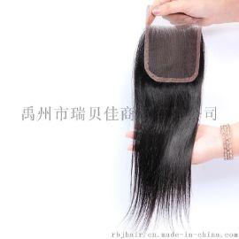 许昌瑞贝佳8A100%真人发丝自然色直发4*4蕾丝发块真人发8-20inch自由分