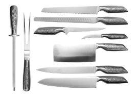 供应户外餐刀套装 不锈钢户外野餐刀具9件套 含包装