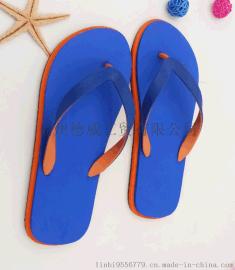 【厂家直销】夏季男士纯色沙滩夹脚拖鞋 双色人字拖  轻便外穿