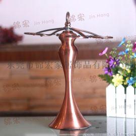 酒杯架 古典鐵藝銅色水晶置地杯架 家居飾品廠家批發
