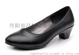 供應酒店行政鞋子 女式單皮鞋 黑色 真皮中跟牛皮職業淺口鞋