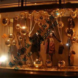 厦门玥诚玻璃钢红色气球橱窗装饰道具 商场美陈道具定制