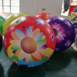 厂家直销新款充气空飘球彩色喷绘花朵球飘空气球氢气球加厚PVC球