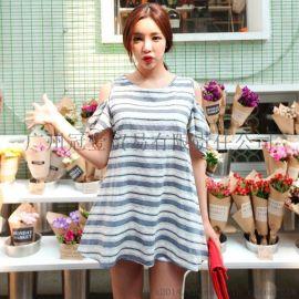 日韩女装夏季新款 清新甜美露肩系腰带条纹圆摆连衣裙短裙