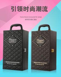 红酒皮盒葡萄酒包装气泡礼盒黑色双支包装盒现货礼品盒 商家主营