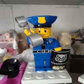玻璃钢乐高 卡通玻璃钢乐高积木 玻璃钢乐高积木警察公仔摆件