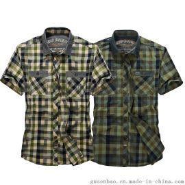 都市时尚夏季男式短袖衬衫 条纹衬衫 英伦条纹短袖衬衫 户外男装