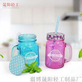 饮料杯 玻璃杯子 易清洁 蜂蜜水汽水储物瓶 公鸡杯 玻璃把手杯 奶茶杯 喝水杯