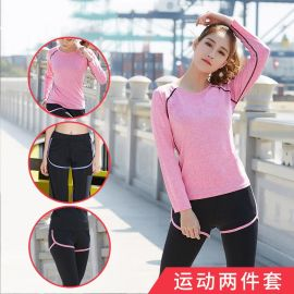 青季瑜伽服健身运动套装女圆领长袖假两件长裤修身速干