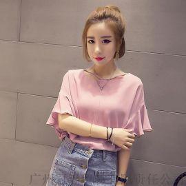 2016韩版新款 个性荷叶袖 休闲百搭纯色雪纺衫上衣【免费加盟一件代发】