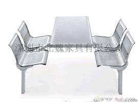 四人位连体快餐桌椅、不锈钢桌椅、8人不锈钢连体餐桌椅、靠背餐桌椅