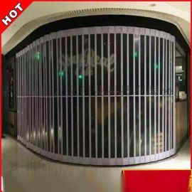 厂家定制 透明水晶折叠门 横向侧推弧形水晶卷帘门