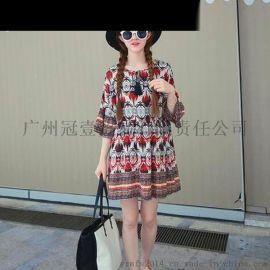 夏季韩版小清新时尚复古印花 宽松七分袖圆摆棉麻连衣裙
