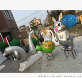 厂家直销专业定玻璃钢兔子乌龟卡通造型 商场美陈 舞台布景道具