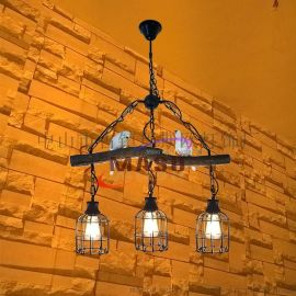 瑪斯歐樹枝小鳥三頭鳥籠美式復古鄉村風格餐廳酒吧別墅個性吊燈MS-P9006
