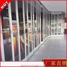 深圳订制水晶折叠 商场弧形侧向推拉门隔断移门