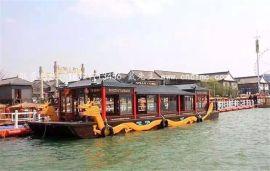 楚风木船出售山东东昌湖电动观光船画舫餐饮船木质龙船