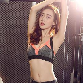 新款防震聚拢拼色活力运动文胸 弹力训练内衣瑜伽健身胸衣专业bra