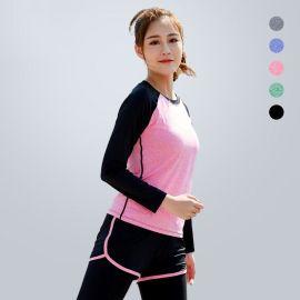 春秋季新款运动健身服瑜伽服上衣女长袖女速干透气吸汗厂家直销