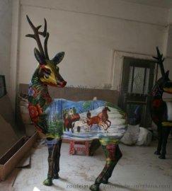 树脂彩绘仿铜梅花鹿雕塑定做生产厂家