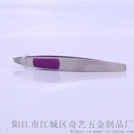 不锈钢拉丝表面带防滑胶粒MZ-02不锈钢眉夹
