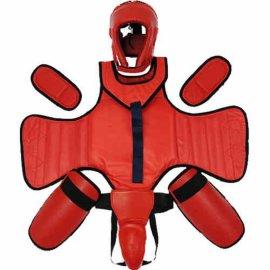 全套五件套散打护具套装跆拳道拳击用品泰拳搏击格斗护头护裆成人
