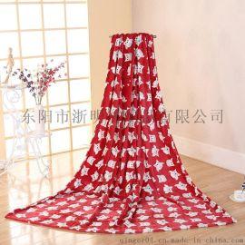 2017新款加厚單層法蘭絨毛毯 印花工藝雙面居家空調毯 毯子定制