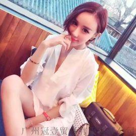 性感低胸开领露背衬衫裙 七分袖纯色连衣裙【外贸女装现货批发】