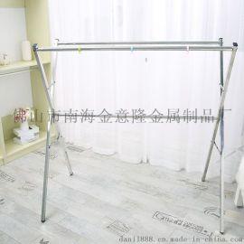 俏夫人不锈钢X型落地折叠晒衣架双杆晾衣晒被室内外伸缩晾衣架