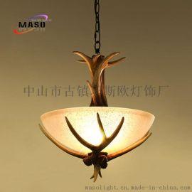 供應瑪斯歐美式復古鹿角樹脂單頭玻璃吊燈MS-P2001 鐵鏈可調節E14燈頭 木色自然鄉村風格鐵藝樹脂吊燈