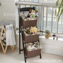 宿舍神器牀頭掛籃 可折疊多用內衣收納籃帶筐花架