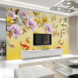 大型电视背景墙壁画中式无缝浮雕壁纸家和