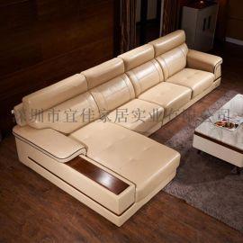 真皮沙发 现代客厅沙发 头层黄牛皮组合沙发 简约风大户型客厅沙发A009