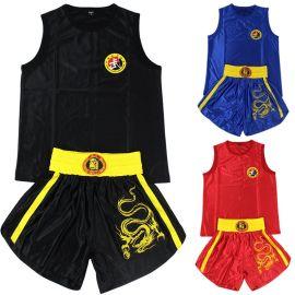 兒童成人繡龍刺繡緞面散打服套裝拳擊服短褲服裝衣服泰拳武術表演男女