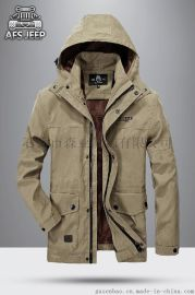 古森豹 男士带帽内胆保暖大衣 男士冲锋衣 男式大衣