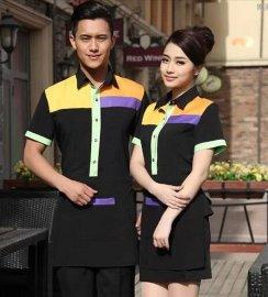 廠家直銷酒店工作服夏裝男女半袖快餐店服務員短袖制服