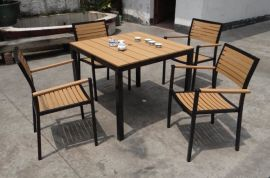 塑木餐桌椅 ,仿木桌椅,  鋁木桌椅(KY-9112)