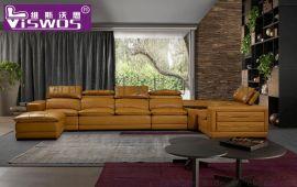 现代简约进口头层牛皮沙发 转角沙发 客厅沙发组合家居