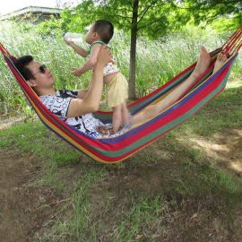 雙人加厚帆布吊牀 戶外野營繩牀單人樹牀野外室內秋千掉牀悠悠牀