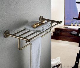 置物架 欧式全铜仿古浴室浴巾架 高档卫浴五金毛巾架挂件 批发