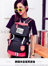 定做批发韩版双肩包女休闲背包男潮定做高中学生校园书包大容量旅行包